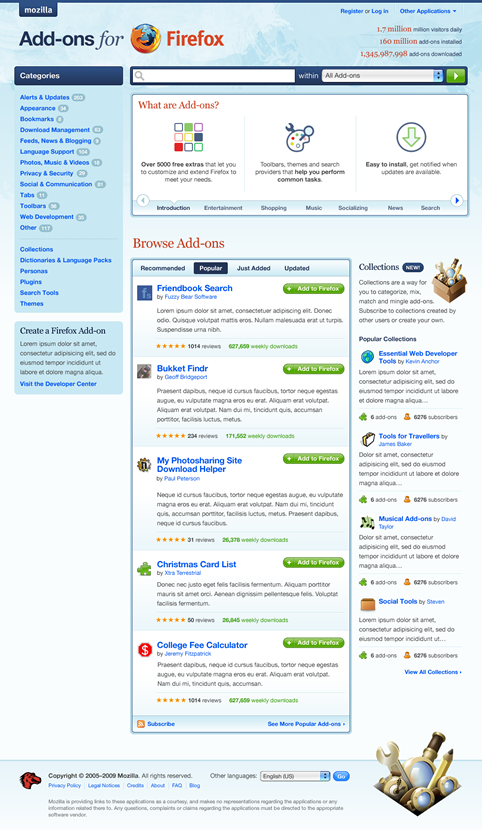 Mozilla Add-ons screenshot